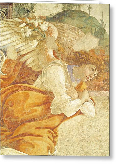 The Annunciation, Detail Of The Archangel Gabriel, From San Martino Della Scala, 1481 Fresco Greeting Card by Sandro Botticelli