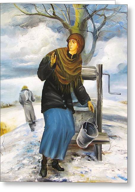 The Annunciation Greeting Card by Mikhail Zarovny