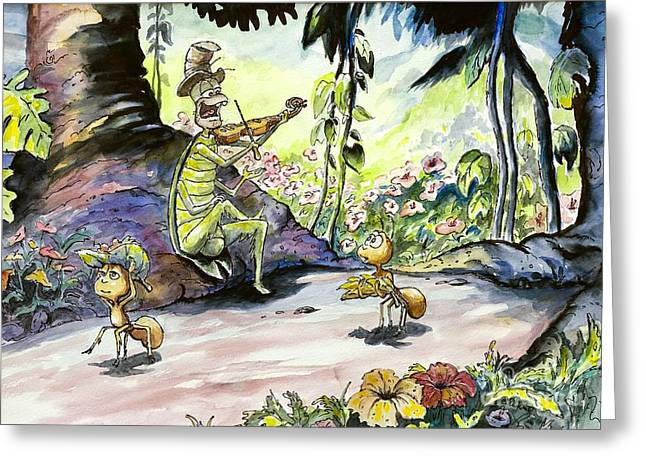 The Ant And The Grasshopper Greeting Card by William Reed