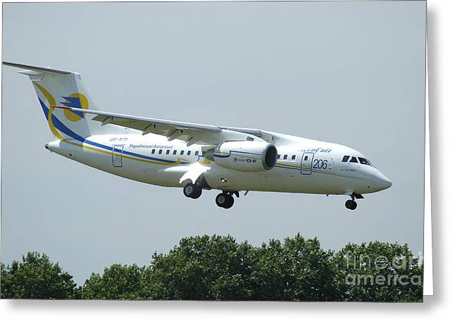 The Antonov An-148 Prepares For Landing Greeting Card