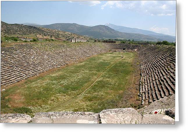 The Aphrodisias Stadium From The West Greeting Card by Tracey Harrington-Simpson