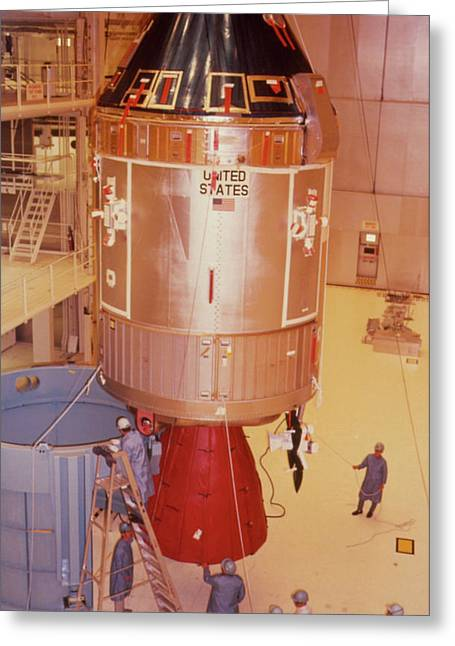 The Apollo 11 Spacecraft Being Prepared For Launch Greeting Card by Nasa/science Photo Library