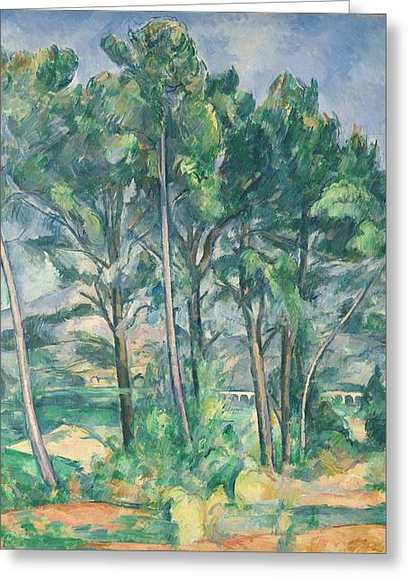 The Aqueduct Montagne Sainte-victoire Seen Through Trees, C.1885-87 Oil On Canvas Greeting Card by Paul Cezanne