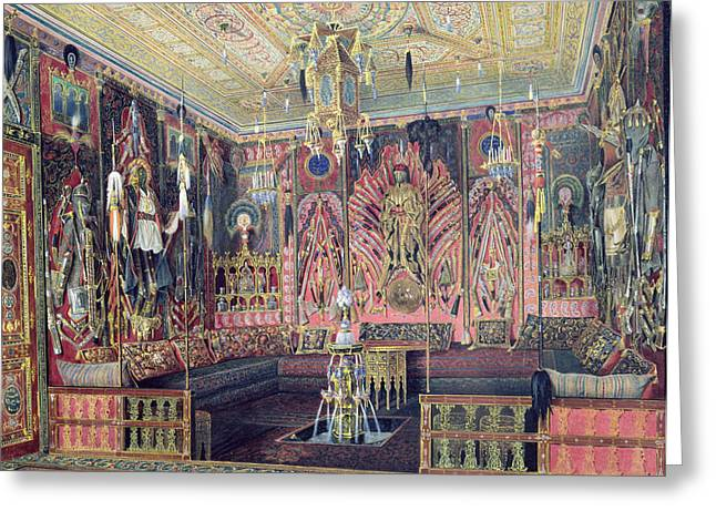 The Arabian Hall In The Catherine Palace At Tsarskoye Selo, C.1850 Wc & White Colour On Paper Greeting Card by Luigi Premazzi