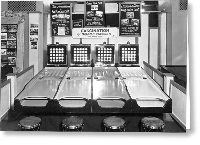 The Arcade Game Of Fascination Greeting Card by Underwood Archives