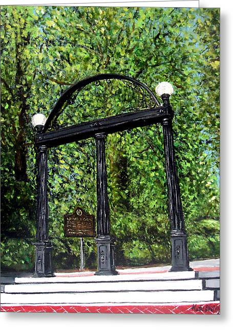 The Arch At Uga Greeting Card by Katie Phillips