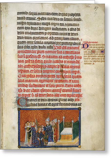 The Archbishop Crowns The King Greeting Card by British Library