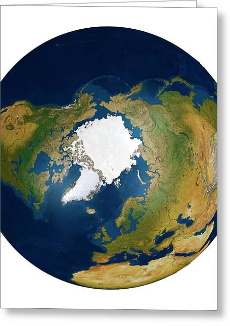 The Arctic From Space Greeting Card by Mikkel Juul Jensen