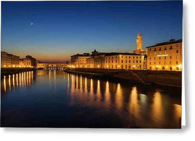 The Arno River And Ponte Vecchio Greeting Card