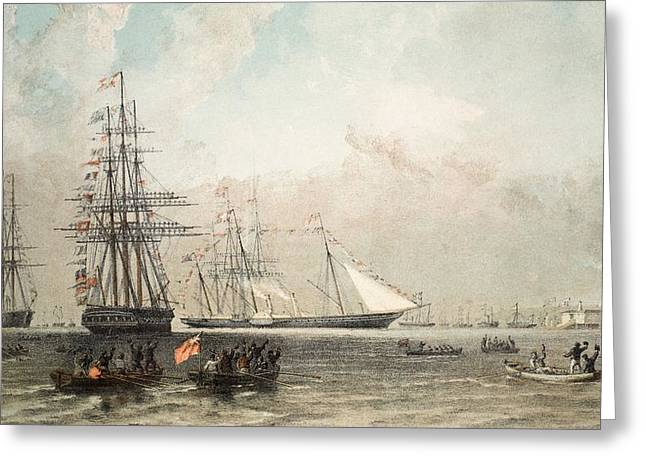 The Arrival Of The Royal Yacht Greeting Card by English School