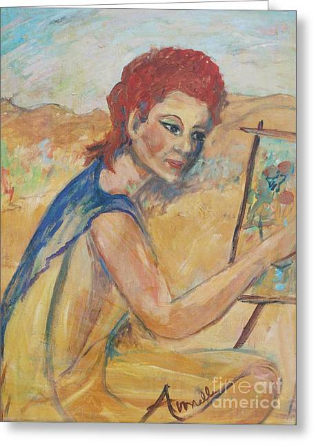 Greeting Card featuring the painting The Artist by Avonelle Kelsey