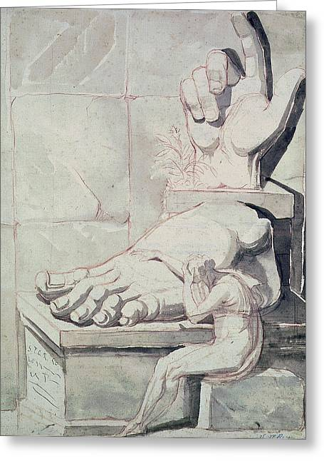 The Artist In Despair Over The Magnitude Of Antique Fragments Right Hand And Left Foot Greeting Card by Henry Fuseli