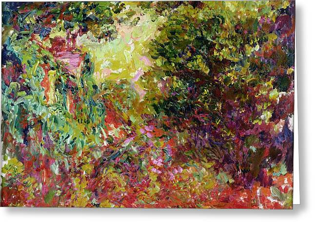 The Artists House From The Rose Garden Greeting Card by Claude Monet