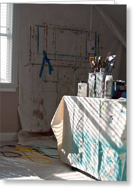 The Artists Studio Greeting Card by Paulette B Wright