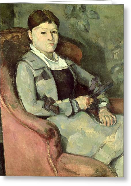The Artists Wife In An Armchair, C.187888 Oil On Canvas Greeting Card by Paul Cezanne