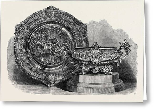 The Ascot Cup And Queens Cup Won At Ascot Races 1868 Greeting Card by English School