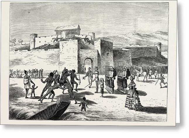 The Ashantee War, Arrival Of The Governor At Cape Coast Greeting Card by African School