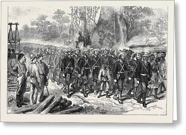 The Ashantee War Arrival Of The Naval Brigade In Camp Greeting Card by English School