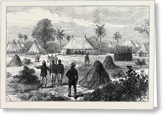 The Ashantee War Captain Glovers Headquarters At Addah 1874 Greeting Card by English School