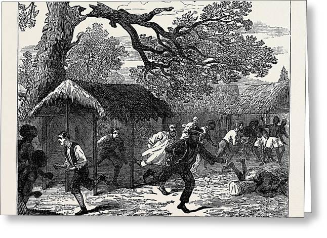 The Ashantee War Fall Of A Tree In Camp 1874 Greeting Card by English School