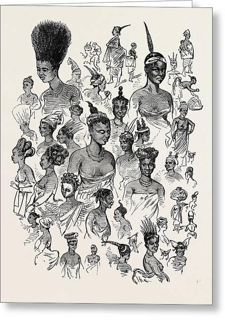 The Ashantee War Female Fashions At Cape Coast Castle 1874 Greeting Card by English School