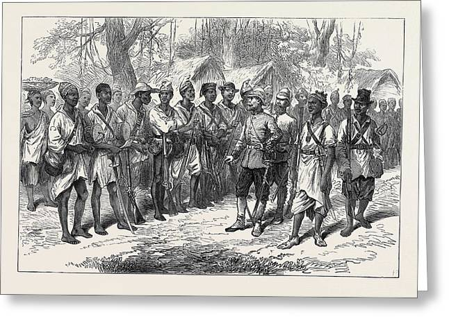 The Ashantee War Inspecting Kossohs At Prah-su 1874 Greeting Card by English School