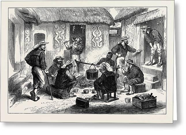 The Ashantee War Naval Brigade Men Breakfasting Greeting Card by English School