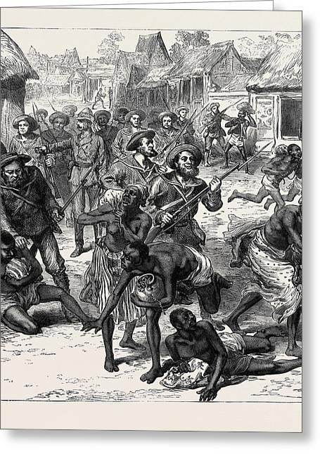 The Ashantee War The Naval Brigade Clearing The Streets Greeting Card by English School