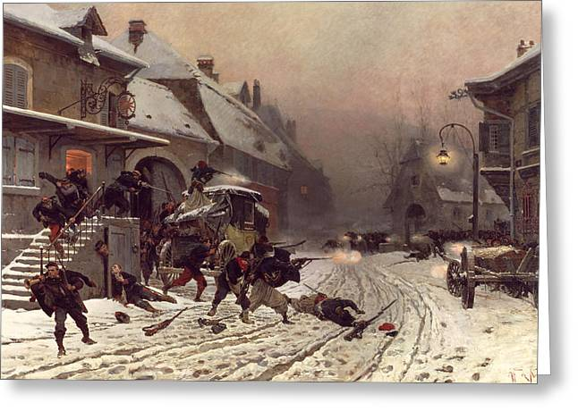 The Attack At Dawn Greeting Card by Alphonse Marie De Neuville