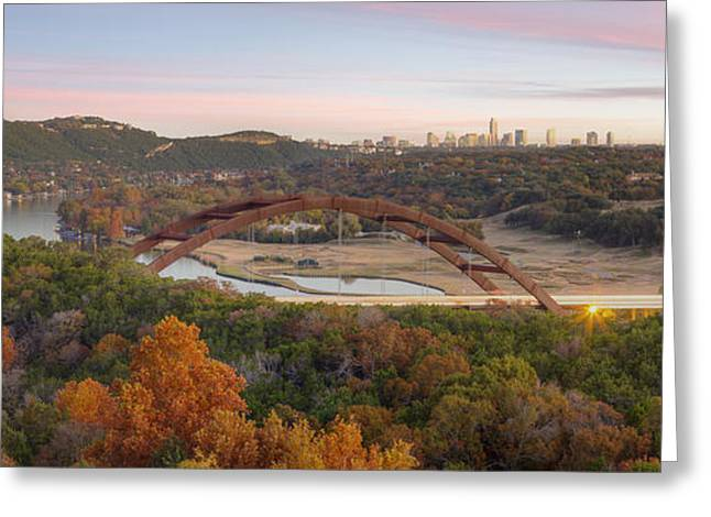 The Austin Skyline And 360 Bridge Pano Image Greeting Card