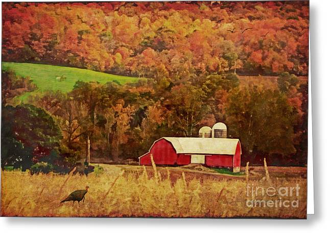 Greeting Card featuring the digital art The Autumn Barn by Lianne Schneider