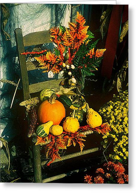 The Autumn Chair Greeting Card by Rodney Lee Williams
