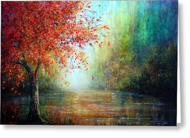 The Autumn Tree Greeting Card by Ann Marie Bone