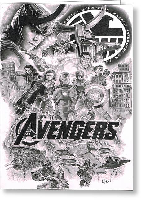 The Avengers Greeting Card by David Horton