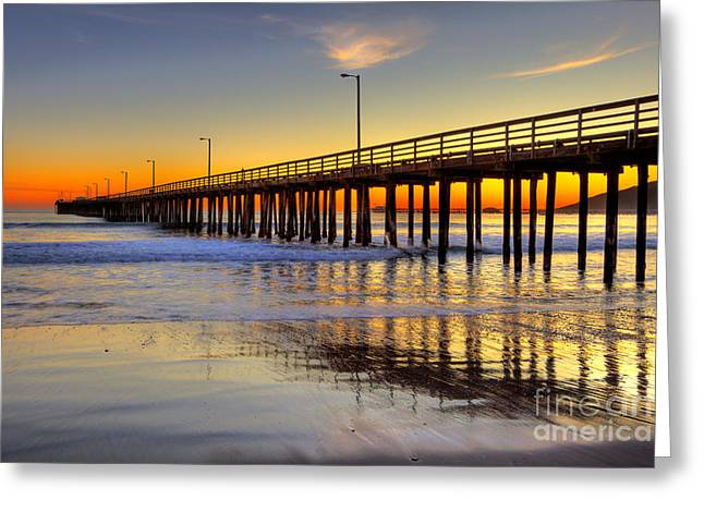 The Avila Beach Pier At Sunset Greeting Card