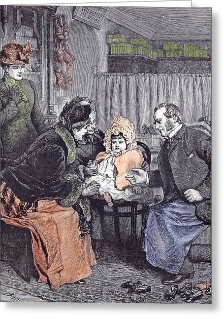 The Babies First Shoes 1891 Shoeshop Shoe Seller Mother Greeting Card