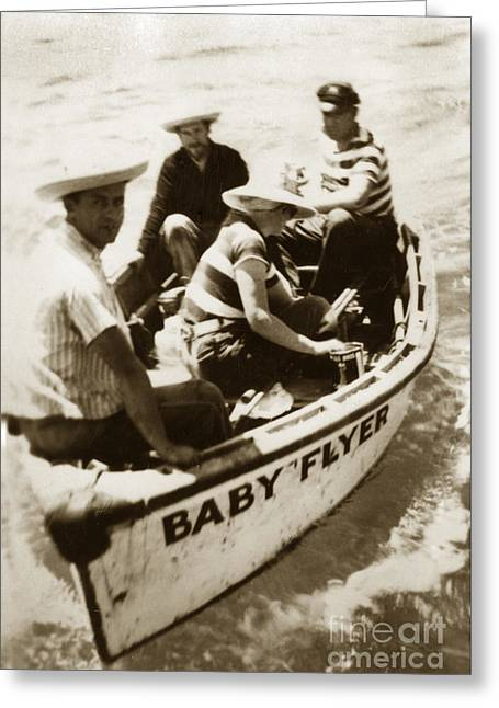 The Baby Flyer With Ed Ricketts And John Steinbeck  In Sea Of Cortez  1940 Greeting Card