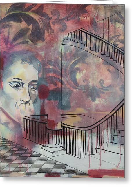 The Back Stairs Greeting Card by Stacey Sherman