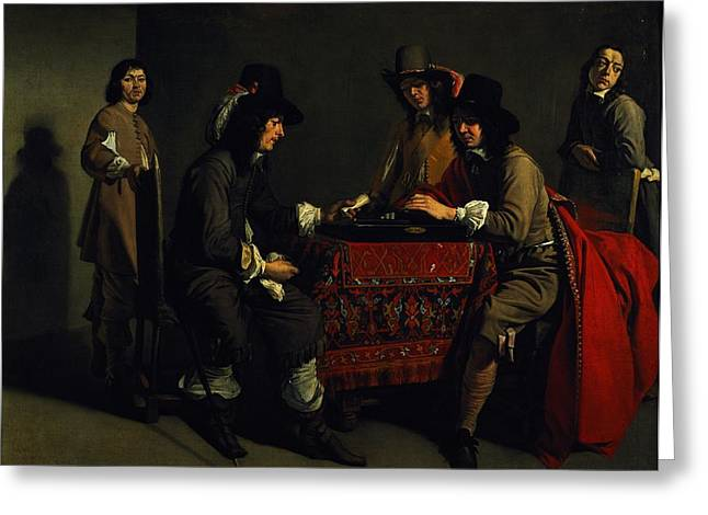 The Backgammon Players Oil On Canvas Greeting Card by Antoine and Louis Le Nain