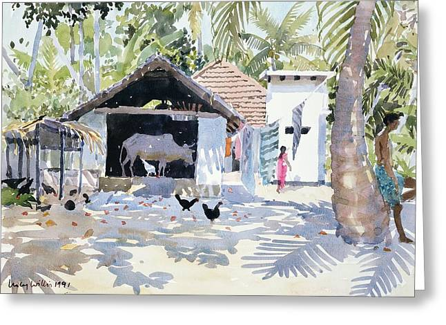 The Backwaters, Kerala, India Greeting Card by Lucy Willis
