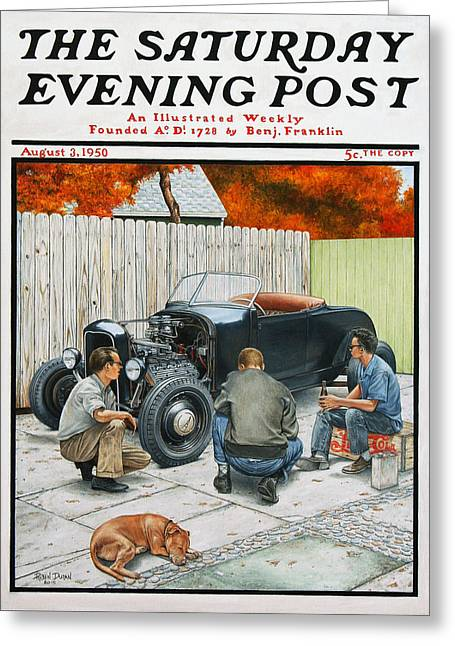 Saturday evening post greeting cards fine art america the backyard build greeting card m4hsunfo
