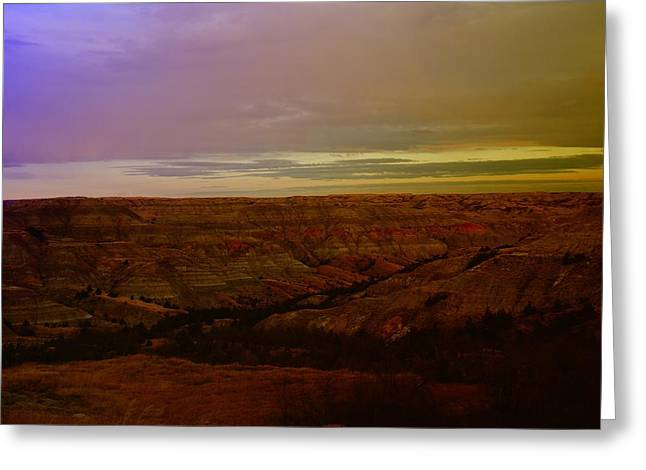 The Badlands Greeting Card by Jeff Swan