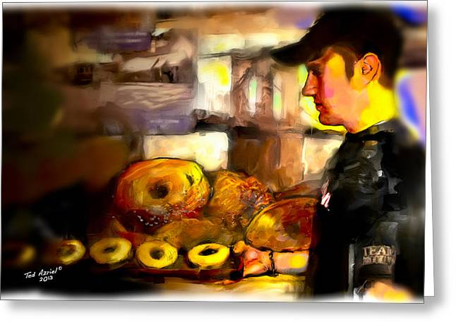 Greeting Card featuring the painting The Bagel Maker by Ted Azriel
