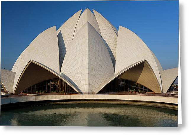 The Bahai Lotus Flower Temple, Centre Greeting Card by Peter Adams
