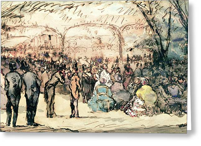 The Bal Mabille Pen & Ink And Wc On Paper Greeting Card by Jules de Goncourt