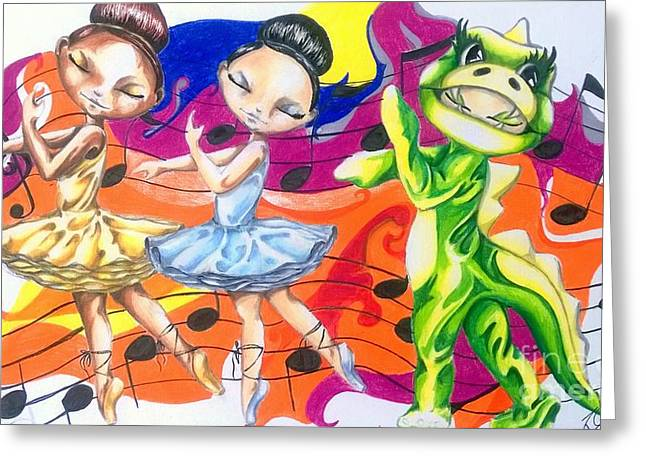 The Ballerinas And The Dragon Tale Greeting Card by Rhonda Falls