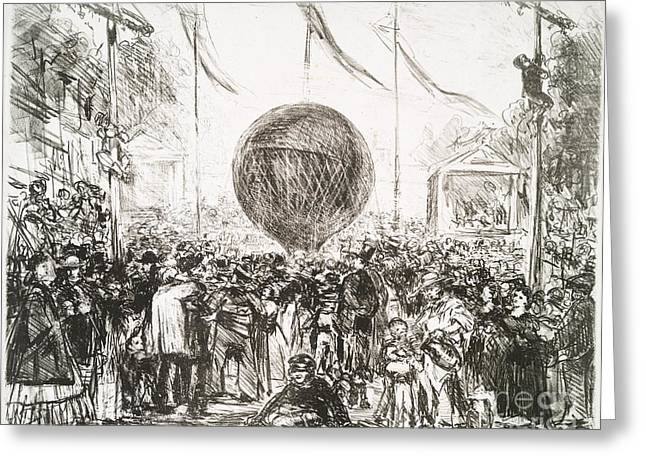 The Balloon (1862) By Edouard Manet Greeting Card by Miriam And Ira D. Wallach Division Of Art, Prints And Photographs
