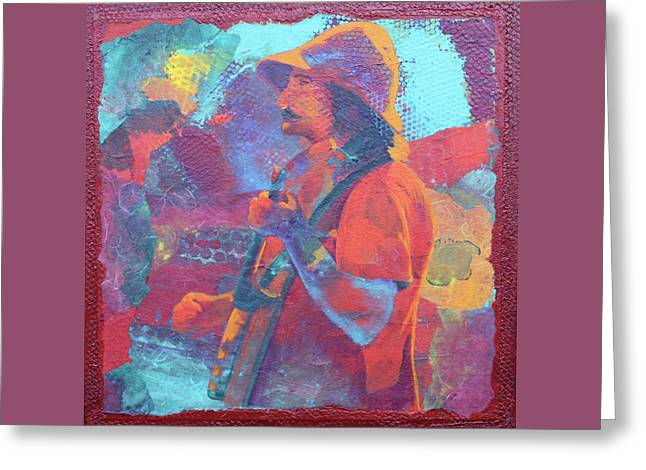 Greeting Card featuring the painting The Banjo Player by Nancy Jolley