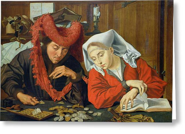 The Banker And His Wife Greeting Card by Marinus van Roejmerswaelen