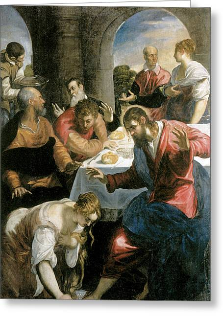 The Banquet In The House Of Simon Greeting Card by Tintoretto